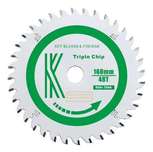 Schlüsselblätter und Befestigungen, 160 x 20 x 2,2 mm, 48T Triple Chip (Triple-chip-sägeblatt)