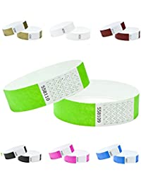 Tyvek Wristbands 3/4 inch 100 pack,neon green, security numbered (neon green, 3/4 inch x 10 inch (19mm x 254 mm))