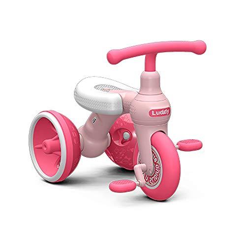Kiblcy 2 IN 1 Kinder Dreirad 3 Räder Baby Balance Bike Leichte Klapp Trike Einstellbare Sitz Balance Training Fahrrad for 1-6 Jahre Alt Kleinkinder Kinder Jungen Mädchen Geschenk (Color : Pink)