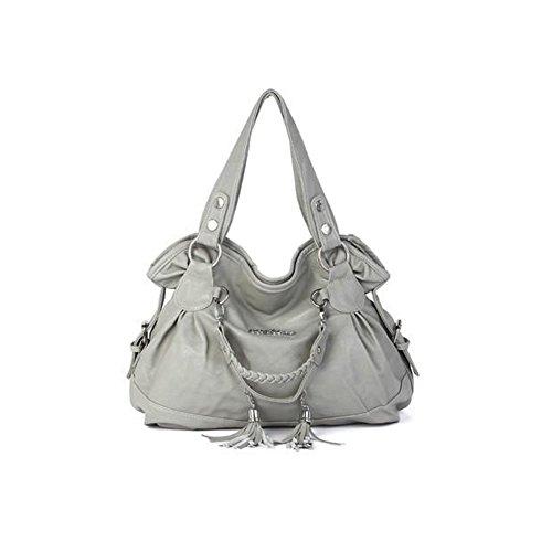 xiaoxuan Parure da donna in pelle PU borsa a tracolla portatile Grey