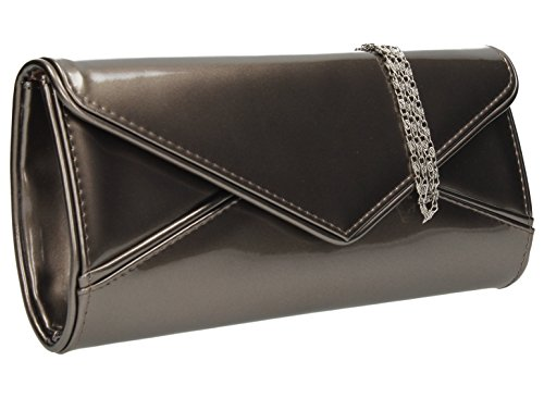 SwankySwans Perry Damen-Handtasche, Clutch, Briefumschlag-Stil, Lackleder - Zinn (Zinn-leder-schuhe)