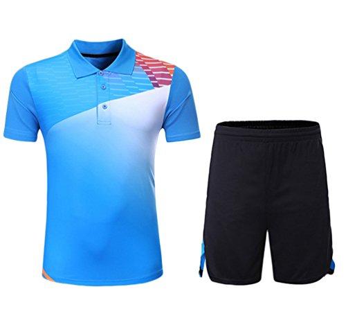 Kuncg Badminton Kleidung Anzug Benutzerdefinierte Frühling Sommer Herren und Jungen Sportbekleidung Schnell Trocknende Kurzärmelige Freizeitkleidung Blau XL