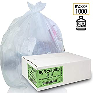 Aluf Plastics 12-16 Gallon Trash Bags - (Commercial 1000 Pack) - Source Reduction Series Value High Density 6 Micron Gauge - Intended for Home, Office, Bathroom, Paper, Styrofoam