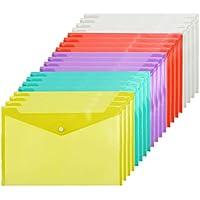 Elcoho - Carpeta de documentos (A4, 20 unidades, plástico, con botón, para escuela y oficina, 5 colores) A4 size