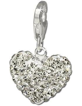 SilberDream Glitzer Charm Herz weiß Swarovski Elements shiny Anhänger 925 Silber für Bettelarmbänder Kette Ohrring...