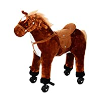 HOMCOM Kids Boys Plush Ride On Walking Horse Toy Wheels Foot Rest w/Neigh Sound