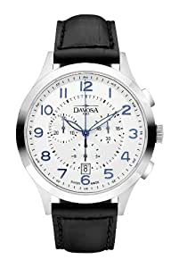 Davosa Metropolitan Men's Quartz Watch with Silver Dial Analogue Display and Black Leather Strap 16243416