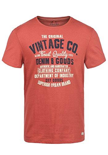 Blend Vadim Herren T-Shirt Kurzarm Shirt mit Rundhals-Ausschnitt Aus 100% Baumwolle Slim Fit Tandori Red (73836)