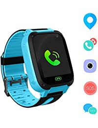 Jslai Kids Smart Watch Phone,LBS Tracker for 3-12 Year Old Boys Girls with Flashlight Camera Sim Card Slot Touch Screen Game for Childrens Gift Compatible for iOS and Android(Blue)
