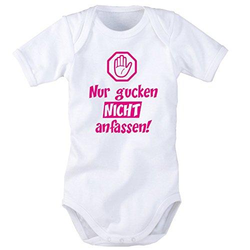 Babybody mit Aufdruck: NUR GUCKEN, NICHT ANFASSEN! (Blau oder Pink) (62/68, Pink)