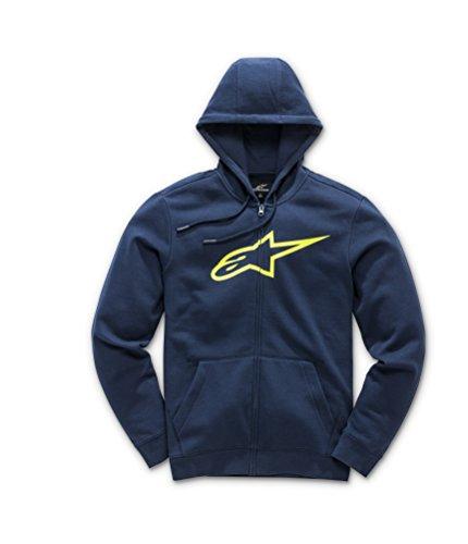 Alpinestars Herren Fleece Ageless Logo Pullover Hoodie Classic Fit Navy/Yellow