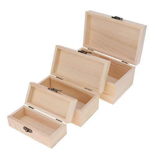 sharprepublic 3 Stücke Unfinished Holz Box, Rechteck Unlackiert Holz Schmuckschatulle DIY Lagerung Brust Schatz Spielzeug Fall