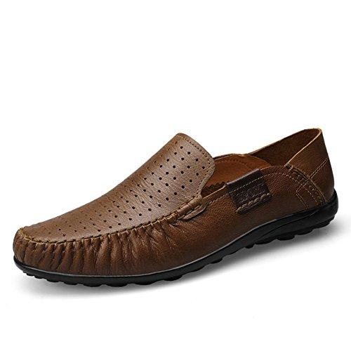 Shenn Homme Conduire Une Voiture Glisser Sur Confort Cuir Mocassins Chaussures Kaki1