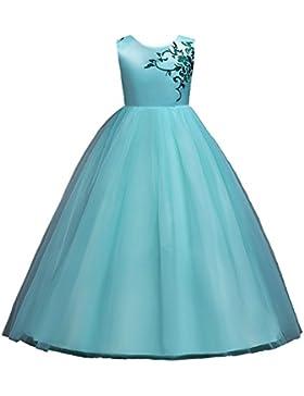 WOLFTEETH Abito Ragazze lungo elegante Ricamo Senza maniche Principessa Vestito per compleanno cerimonia spettacolo...