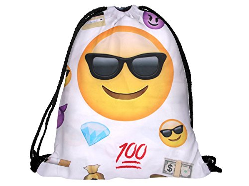 emoji sportbeutel Alsino Emoji Turnbeutel Hipster Sportbeutel Tasche Rucksack Gymbag RU-68 Emoticon Cool