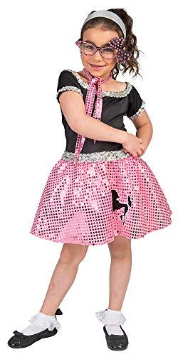 Sixties Kostüm Kinder - Das Kostümland Sixties Kostüm Sweety Lou für Mädchen - Rosa Gr. 104