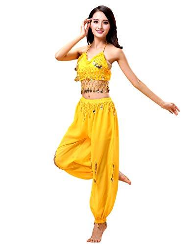 Grouptap Bollywood Frauen Indien arabische Dame Bauchtänzerin Pailletten Oben Schlitz Hosen Kleid Party Kostüm gelb Phantasie Erwachsenen...