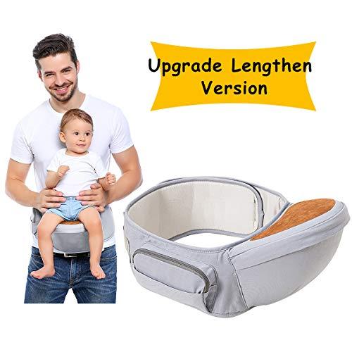 Wemk Babytrage Einstellbar länger Gürtel 53''/135cm Baby-Hüftsitz Taille Hocker für 0-36 Monate Baby Kleinkind Leichter Ergonomischer Grauer Babytrage Geschenk für Neue Eltern