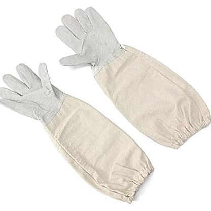 KINGLAKE Waterproof Beekeeping Gloves Goatskin, Leather Beekeeper Gloves for Men & Women, Large Beekeeping Protective Gloves Long with Vented Sleeves 2