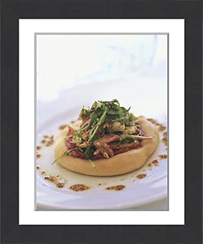 Framed Print of Individual Whole Wheat Pizza with Walnuts, Greens