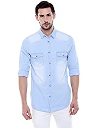 Dennis Lingo Men's Denim Light Blue Solid Casual Shirt