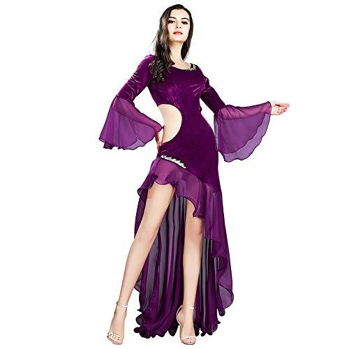 Kleid Tanzkostüm Kleider Samt Chiffon Langarm Kleid Latin Tango Dancing Maxi Röcke Kleid Elegante Damen Abend Party Kleider, Violett, L ()