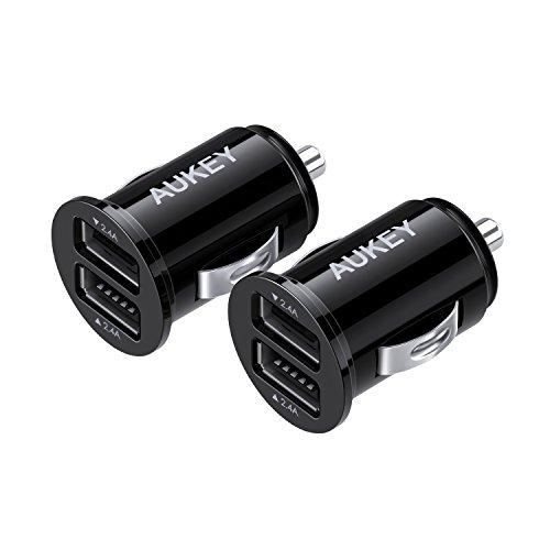 AUKEY Caricabatteria da Auto, Ultra Compatto, Dual Porta USB 4,8A / 24W (2 Pacchetti) per iPhone X / 8 / 8 Plus / 7, iPad Air / Pro, Tablet, Smartphone e gli altri dispositivi USB