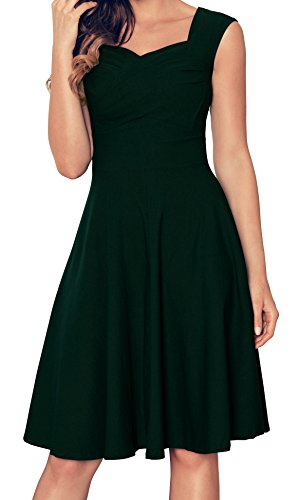 Aixy Frauen Cut Out V-Ausschnitt Vintage Casual Retro Kleid Gruen-3