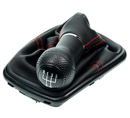 L & P Car Design L&P A251-3 Schaltsack Schaltmanschette in Schwarz mit roter Naht ROT + Schaltknauf + Rahmen Schwarz mit 5 Gang mit 23mm Knauf als Plug Play Ersatzteil für 1J0711113