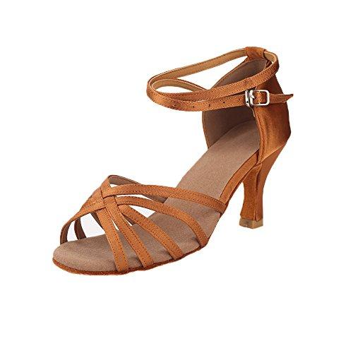 VASHCAME-Zapatos de Baile Latino de Tacón Alto/Medio para Mujer Beige 40 (Tacón-7cm)