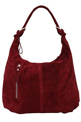 AMBRA Moda Damen Wildleder Handtasche Schultertasche Beutel Hobo Bag Veloursleder Suede WL808 (Bordeaux) (Rote Leder-hobo)