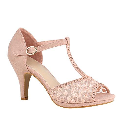 Stiefelparadies Damen Sandaletten Riemchensandaletten Strass Lack Party Schuhe 157203 Rosa Spitze Strass 41 Flandell -