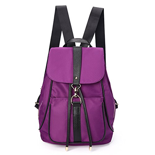 Sprnb Ladies Borsa a tracolla in nylon Oxford borsa di tela,Nero Violet