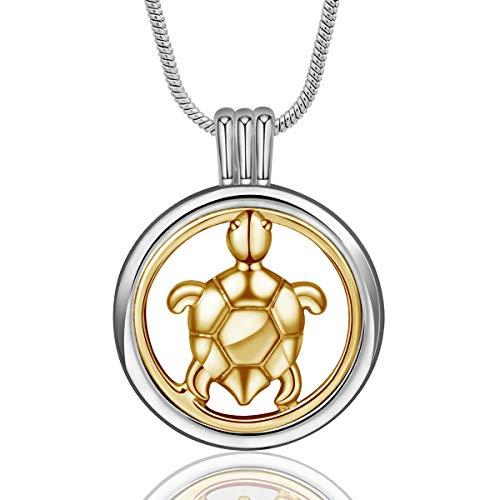 INFUSEU ätherisches Öl Diffusor Damen Halskette, Aromatherapie Schildkröte Medaillon Anhänger mit 6 Farben Nachfüllpads & Kette 24