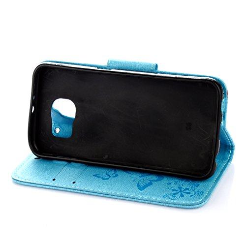 Cover Samsung Galaxy S6, Alfort Custodia Protettiva in Pelle Verniciata Goffrata Farfalle e Fiori Alta qualità Cuoio Flip Stand Case per la Custodia Ci sono Funzioni di Supporto e Portafoglio Chiusura Blu
