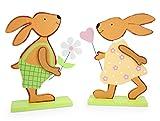 Impressionata 2X Deko Figur Osterhase Hase Junge Mädchen aus Holz, 19,5 x 28cm, Osterdeko Frühlingsdeko Osterfigur Holzhase für Frühling Ostern