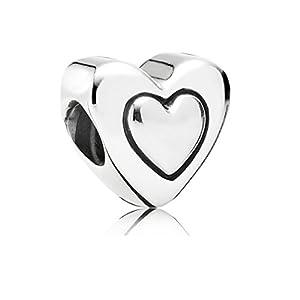AKKi jewelry Charms Herz 2 Anhänger für Armband Kette Starter Set Angebot,Edelstahl Zirkonia Silber Beads,Pandora Style kompatibel