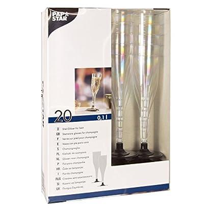 Papstar-Plastik-Sektglas-Stiel-Glas-01-l-20-Stck-glasklar-mit-schwarzem-Fu-aus-stabilem-Polystyrol-fr-festliche-Anlsse-und-Feiern-12196