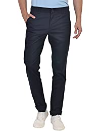 IRONY Navy Color Mid Rise Cotton Trousers For Mens