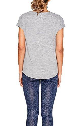 ESPRIT Sports Damen Sport Shirt E-dry T-shirt Lasercut Grau (Medium Grey 2 36)