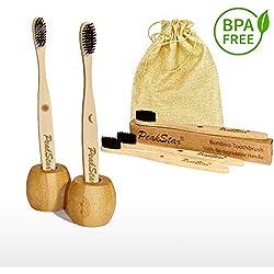 5x Cepillo Dientes Bambu PREMIUM PeakStar | 100% Biodegradable sin BPA | 2 Holders Homenaje + Paquete de Viaje | Cepillos con Finas Cerdas Suaves | ♻ Eco Vegan Friendly Organic Bamboo Toothbrush