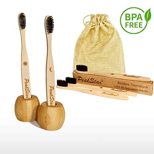 5x Cepillo Dientes Bambu PREMIUM PeakStar | 100{60247d0a4a43d94fcf74ce423af7514850e5e5611d263c9fc1d88df93ad13ff8} Biodegradable sin BPA | 2 Holders Homenaje + Paquete de Viaje | Cepillos con Finas Cerdas Suaves | ♻ Eco Vegan Friendly Organic Bamboo Toothbrush