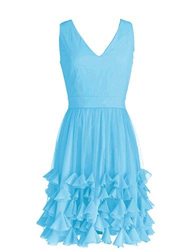 Dressystar Robe de demoiselle d'honneur/de soirée courte à Col en V, ourlet floral Bleu