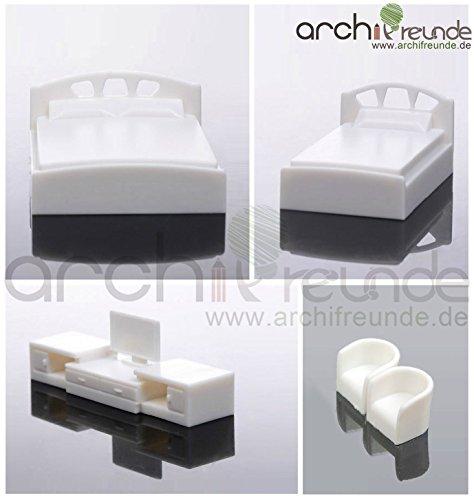 Schlafzimmer-sets Möbel (5er Set Modell Schlafzimmer Möbel 1:50, Doppelbett + Einzelbett + TV + 2 Sessel)