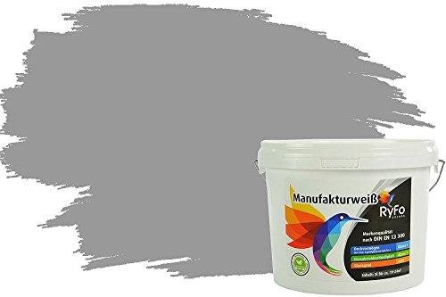 RyFo Colors Bunte Wandfarbe Manufakturweiß Elephantengrau 3l - weitere Grau Farbtöne und Größen erhältlich, Deckkraft Klasse 1, Nassabrieb Klasse 1