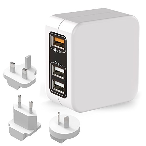 LEMEGO Reiseadapter USB 3-Port Adapter Internationales Ladegerät Netzadapter 1 QC 3.0 + 2 Smart IC Ports mit EU UK US AU Steckern Für MacBook/LG/HTC 10/Samsung/iPhone Weiß (Ic-adapter)