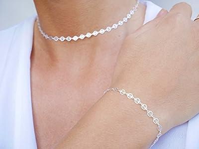 Parure collier + bracelet chaine cercles ajourés - ras du cou choker argent 925 - tour de cou court - bracelet chaine argent - bohème-chic