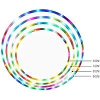 LED Dance & Fitness Glow Luz Ponderada Aros de Hoola para Adultos y Niños, Luz LED Cambiante de Luz Estroboscópica, Diseño Desmontable de 8 Secciones (70 cm, 14 LED)