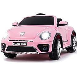 SUNCOO Compatible avec 12V VW Beetle Electrique Voitures Volkswagen pour Enfants à Double entraînement avec télécommande, Porte Double, Rose