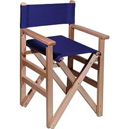 Sedia da regista in legno, senza vernice, con tela